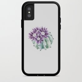 Cactus with lilac flowers iPhone Case