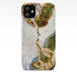 The Creation of Adam Painting by Michelangelo Sistine Chapel iPhone Case
