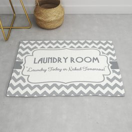 Laundry Room Humor - Gray and White Chevron Rug