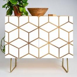White and Gold - Geometric Cube Design Credenza