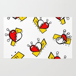 Hearts with Stitches - Red Yellow Rug