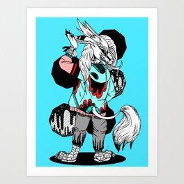 """Hipster Kirin"" , Trendy, Punk, Comics, black and white, cartoon, ink, fashion, dragon, pop art Art Print"