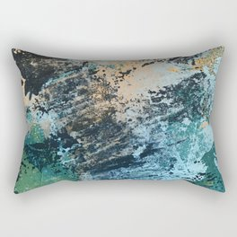 Reflection: an abstract ocean scene in blues, greens, and gold Rectangular Pillow