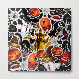 Halloween Spooky Cartoon Saga Metal Print