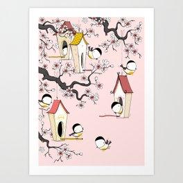 Lovely tit birds with birdhouses Art Print