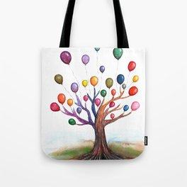 Balloon Tree Watercolor Tote Bag