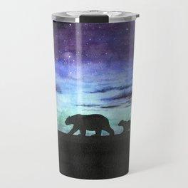 Aurora borealis and polar bears (black version) Travel Mug