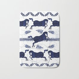 Ancient Greek Fresco - Navy Bath Mat