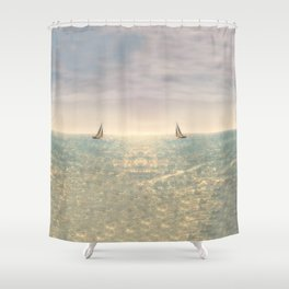 Misty summer day on the sea- a lonely boat Shower Curtain