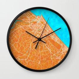 Rimini, Italy, Gold, Blue, City, Map Wall Clock