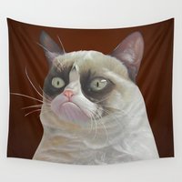 grumpy Wall Tapestries featuring Grumpy-Chocolate by beart24