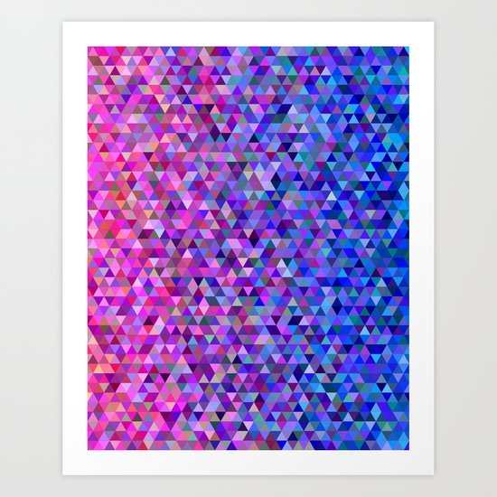 Pink and blue triangles Art Print