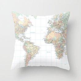 Clear World Map Throw Pillow