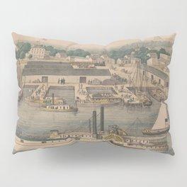 Vintage Pictorial Map of The 6th Street Wharf - Washington DC Pillow Sham
