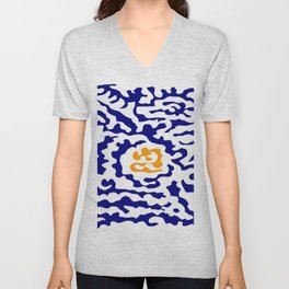 Abstraction in the style of Matisse 49 orange and blue Unisex V-Neck