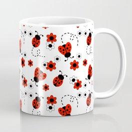 Red Ladybug Floral Pattern Coffee Mug