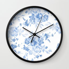 Modern navy blue white watercolor elegant floral Wall Clock