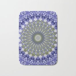 Mandala in blue and olive tones Bath Mat