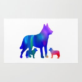 Wolf mom and cubs Rug