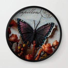 Butterfly Art, Papillions, Mixed Media Collage Art Wall Clock