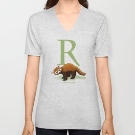 R is for Red Panda: Under Appreciated Animals™ ABC nursery decor mint green unusual animals Unisex V-Neck
