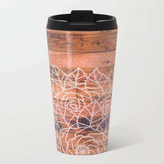Wood Mandala I Metal Travel Mug