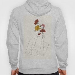 Colorful Thoughts Minimal Line Art Woman with Flowers Hoody