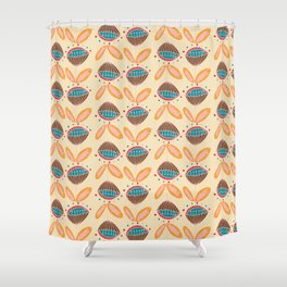 Mid Century Beige Floral Pattern Shower Curtain
