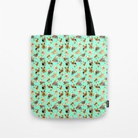 yorkie Tote Bags featuring Yorkie Pattern by Bark Point Studio