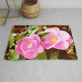 Graphic Pink Climbing Roses Rug