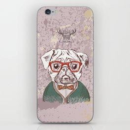Hipster pug iPhone Skin