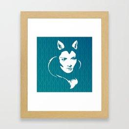 Faces - foxy lady Marlene on a teal wavey background Framed Art Print
