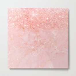 Blush Star Glitter on Marble Metal Print