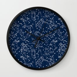 Constellations animal constellations stars outer space night sky pattern by andrea lauren Wall Clock