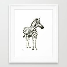Zebra Watercolor Baby Animals Framed Art Print