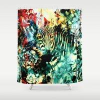 zebra Shower Curtains featuring ZEBRA by RIZA PEKER
