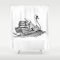black swan Shower Curtains featuring Swan  by Amor et Squalore
