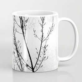 Crows Flying Birds in Tree Branches Black on White Coffee Mug