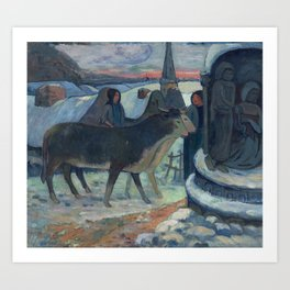 Christmas Night (The Blessing of the Oxen) Paul Gauguin Art Print