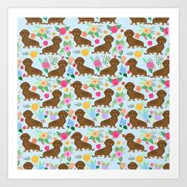 Cute Weiner dogs flower pattern Art Print