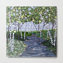 Spring Birches on the River Metal Print