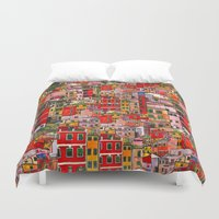 italy Duvet Covers featuring Manarola, Italy  by Marcella Wylie