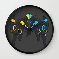 umbreon Wall Clocks featuring Umbreon Duo by Kurew Kreations