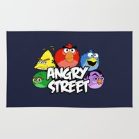 sesame street Area & Throw Rugs featuring Angry Street: Angry Birds and Sesame Street Mashup by Olechka