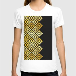 Turkish carpet gold black. Patchwork mosaic oriental kilim rug with traditional folk ornament T-shirt
