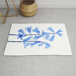 botanical bluebell flowers watercolor Rug