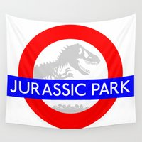 jurassic park Wall Tapestries featuring LONDON UNDERGROUND : JURASSIC PARK STATION by DrakenStuff+