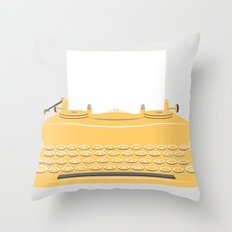 The Lonely Typewriter {mustard} Throw Pillow