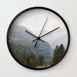 A Switzerland Mountain Valley - Landscape Photography Wall Clock