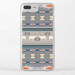 Decorative Christmas pattern with deer Clear iPhone Case